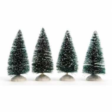 16x kerstdorp onderdelen miniatuur boompjes met sneeuw 10 cm