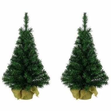 2x bureau kerstboompjes groen 45 cm
