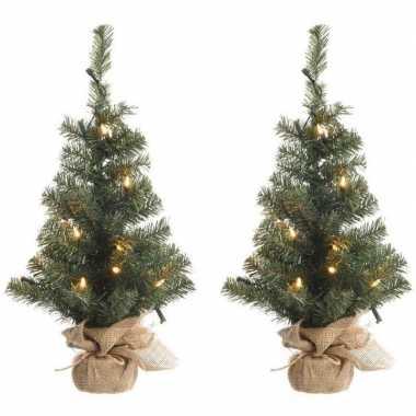 2x kerstmis nep dennenboompjes 75 cm met 35 lampjes warm wit