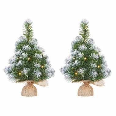 2x stuks bureau kerstboompjes met verlichting en sneeuw 45 cm