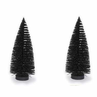 2x stuks decoratie kerstbomen/ mini kerstboompjes zwart 27 cm