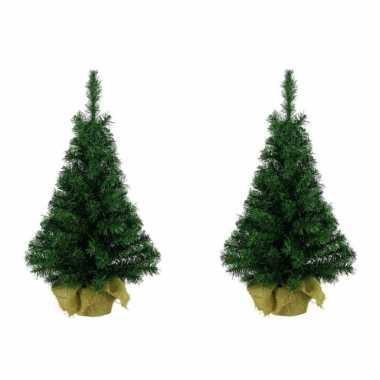 2x stuks kantoor/bureau boompjes 35 cm - kerstbomen