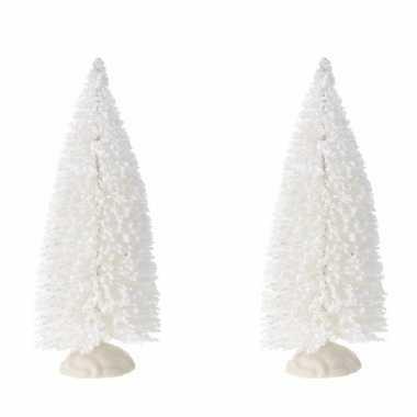 2x stuks kerstdorp onderdelen miniatuur kerstboompjes wit 19 cm