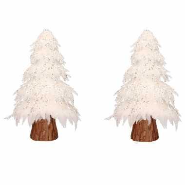 2x stuks kerstfiguren beeld wit kerstboompje 42 cm