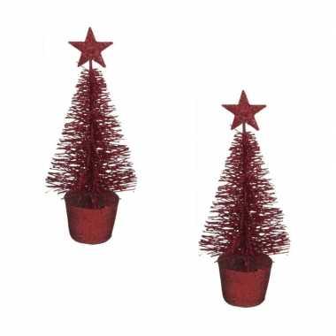 2x stuks kerstversiering rode glitter kerstbomen/kerstboompjes 15 cm