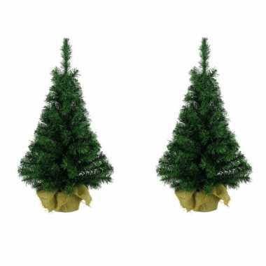 3x stuks kantoor/bureau boompjes 35 cm - kerstbomen