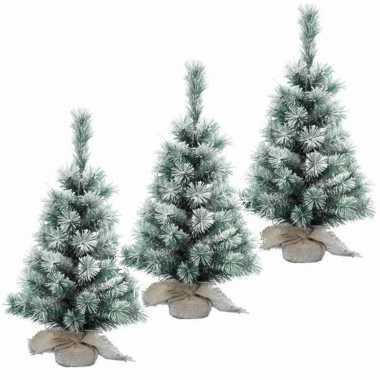 3x stuks kantoor kerstboom sneeuw 45 cm