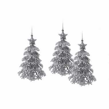 3x zilveren glitter kerstboom hanger 16 cm