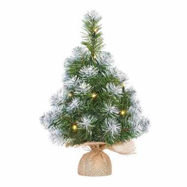 Bureau kerstboompje met verlichting en sneeuw 45 cm