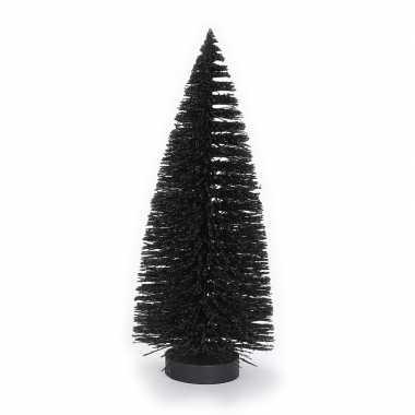 Decoratie kerstbomen/ mini kerstboompjes zwart 27 cm