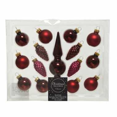 Donkerrode glazen kerstballen en piek set voor mini kerstboom 15-dlg