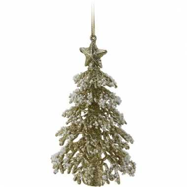 Gouden glitter kerstboom 16 cm