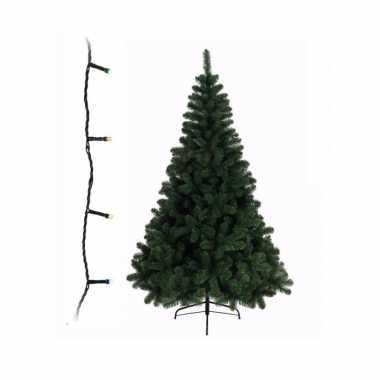 Groene kunst kerstboom 210 cm inclusief gekleurde kerstverlichting