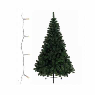 Groene kunst kerstboom 240 cm inclusief warm witte kerstverlichting