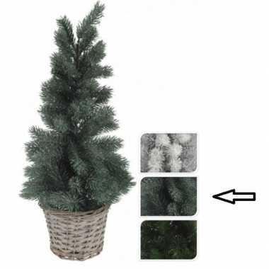 Groene kunst kerstboom in mand 60 cm