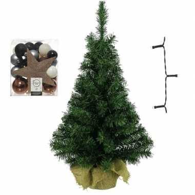 Kantoor/bureau kerstboom compleet met decoratie blauw/bruin/champagne