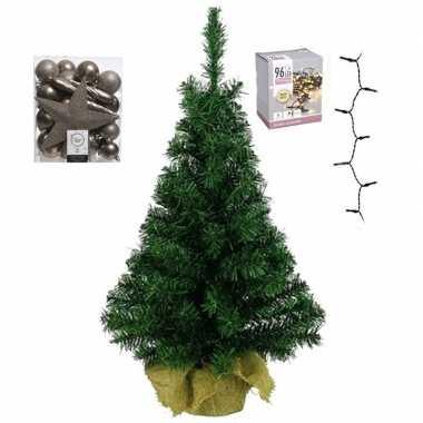 Kantoor/bureau kerstboom compleet met decoratie kasjmier bruin