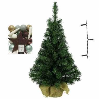 Kantoor/bureau kerstboom compleet met decoratie natuurtinten