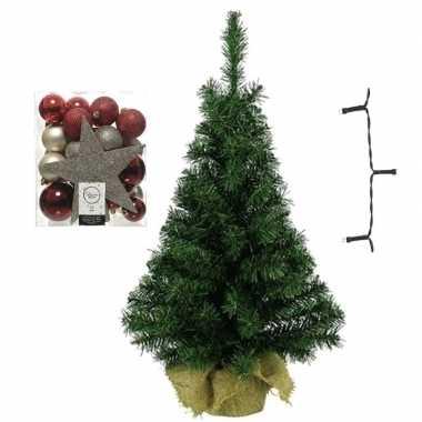 Kantoor/bureau kerstboom compleet met decoratie rood/bruin/champagne