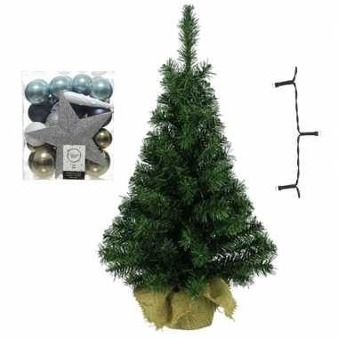 Kantoor/bureau kerstboom compleet met decoratie wit/bruin/blauw