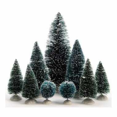 Kerstdorp bomen 9 stuks mini kerstboom for Mini kerstboom action