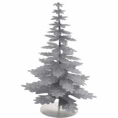 Kerstversiering kerstboom zilver glitter