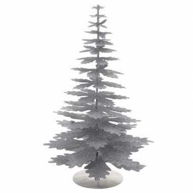 Kerstversiering mini kerstboom zilver glitter
