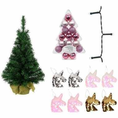 Kinder eenhoorn kerstboom 75 cm met lichtjes en kerstballen