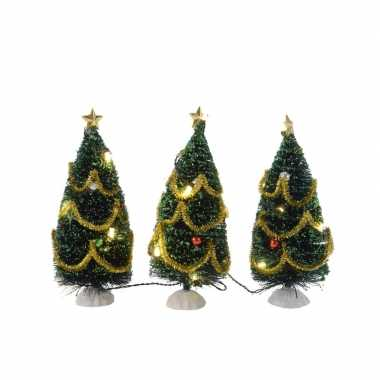 Kleine kerstboom met led lampjes en versiering 15 cm