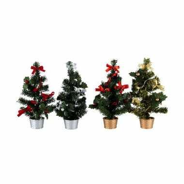 Kunst kerstboom 30 cm rood/zilver