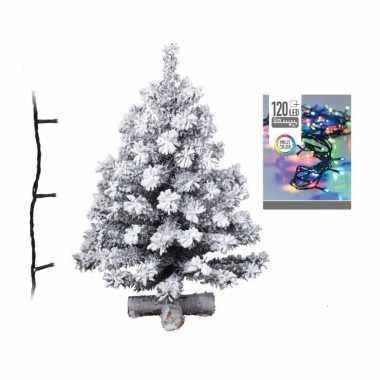 Kunst kerstboom met sneeuw 90 cm inclusief helder witte kerstverlichting