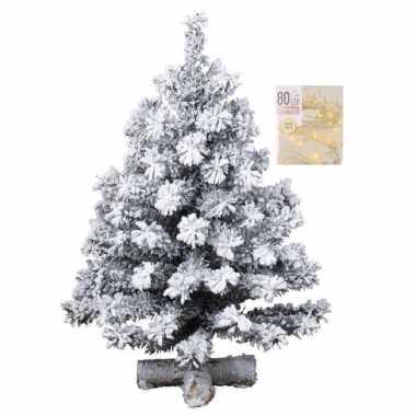 Kunst kerstboompje groen met sneeuw 60 cm inclusief warm witte kerstverlichting