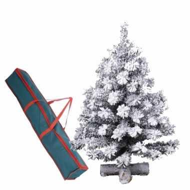 Kunst kerstboompje groen/sneeuw 90 cm op kruis inclusief opbergzak