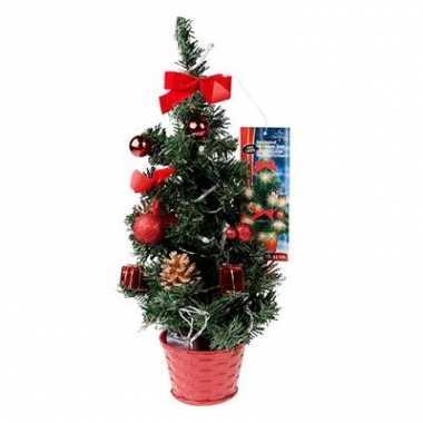 Kunst kerstboompje rood met licht