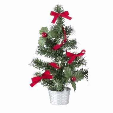Kunstkerstboompje zilveren en rode 45 cm