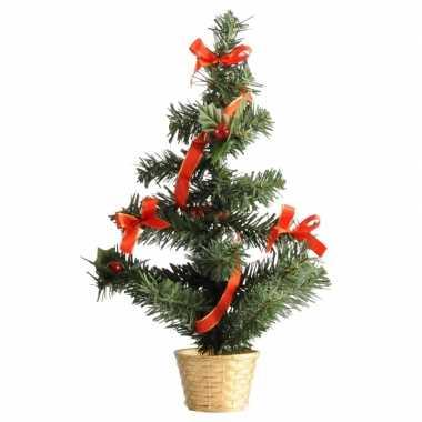 Mini kerst decoratie boompje goud/rood 36 cm