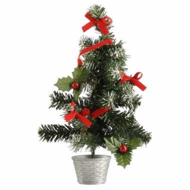 Mini kerst decoratie boompje zilver/rood 36 cm