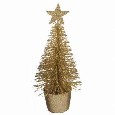 Mini kerstboom in de kleur goud 15 cm
