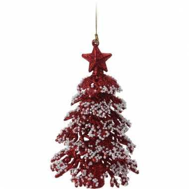 Rode glitter kerstboom 16 cm