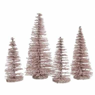 Roze kleine deco sier kerstboompjes 15 cm 4 stuks