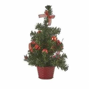 Tafelmodel kerstboompje met rode versiering 32 cm