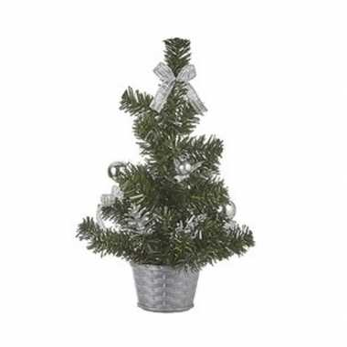 Tafelmodel kerstboompje met zilveren versiering 32 cm