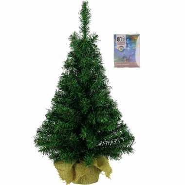 Volle kerstboom in jute zak 60 cm inclusief gekleurde kerstverlichting
