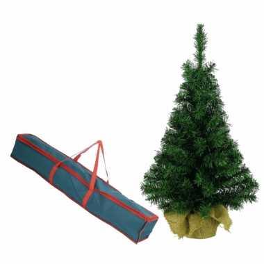 Volle kerstboom in jute zak 60 cm kunstbomen inclusief opbergzak