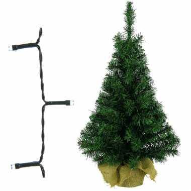 Volle kerstboom/kunstboom 75 cm inclusief warm witte verlichting op batterij