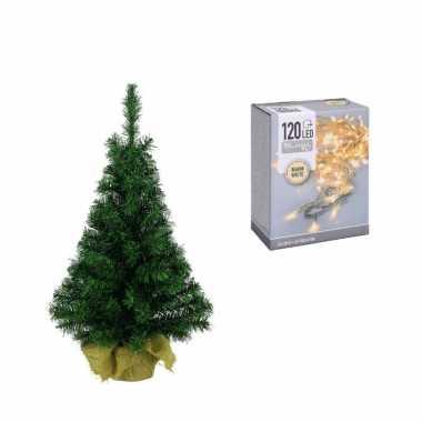 Volle kerstboom/kunstboom 75 cm inclusief warm witte verlichting
