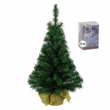 Volle mini kerstboom/kunstboom groen 45 cm inclusief helder witte kerstverlichting