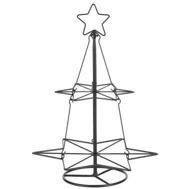 Zwarte metalen kerstboom decoratiestuk 40 cm
