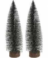 2x miniatuur kerstboompjes groen 35 cm