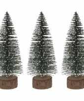 3x miniatuur kerstboompjes groen 25 cm